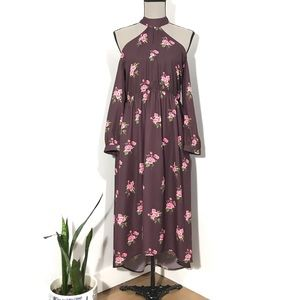Pink Martini Rose Floral Cold Shoulder Maxi Dress